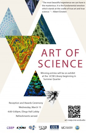 Poster for Art of Science Reception and Awards March 15